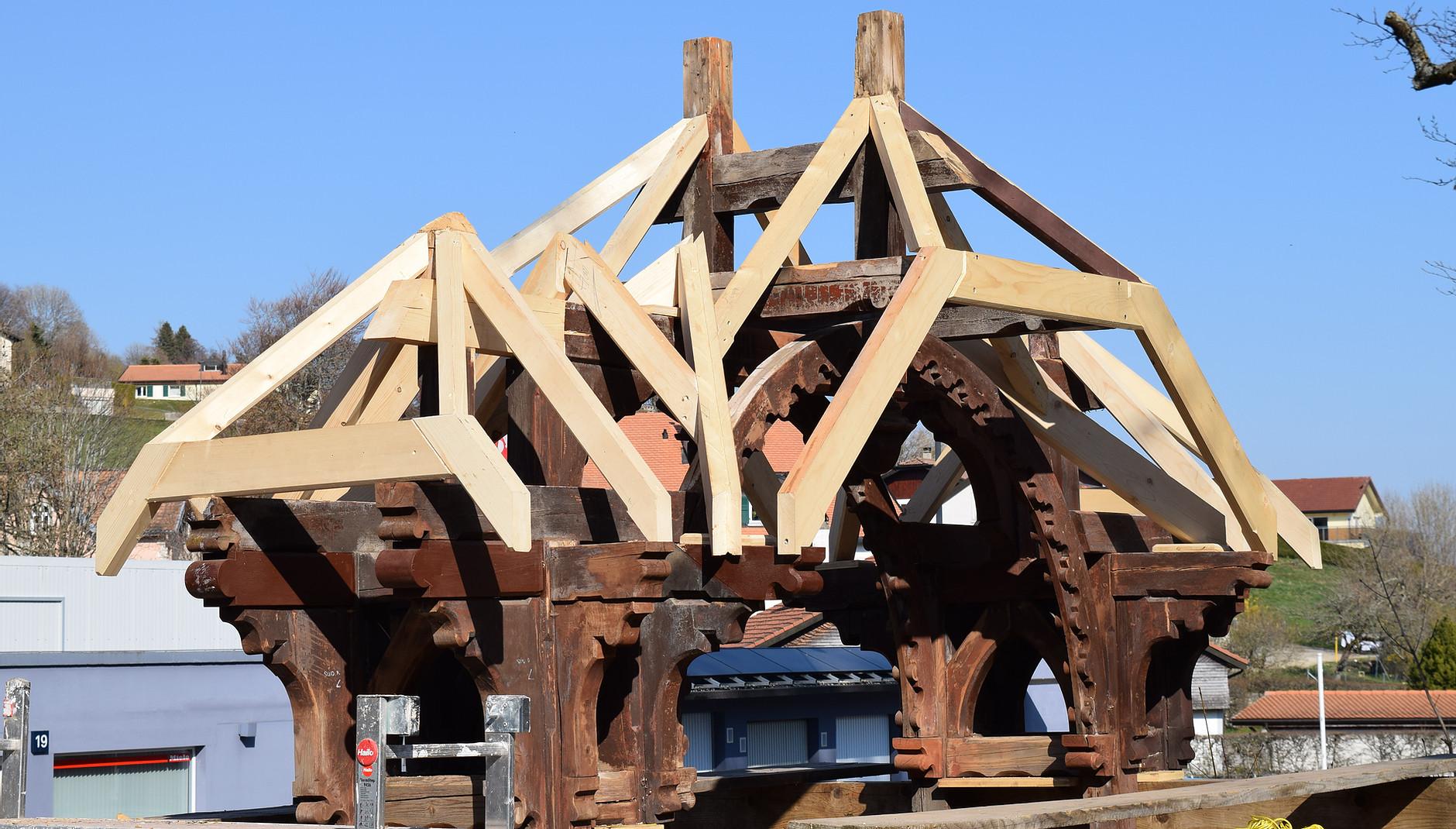 Portique du patrimoine du canton de Vaud pendant la restauration